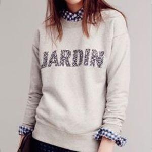 Madewell Jardin Sweatshirt Gray Floral Pullover S